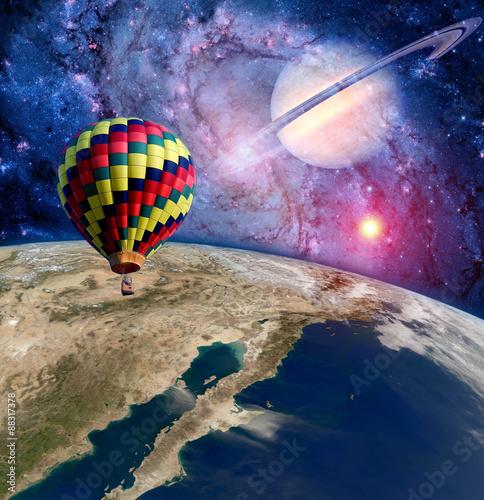 Foto op Plexiglas Draken Hot air balloon surreal wonderland landscape fantasy moon earth. Elements of this image furnished by NASA.