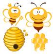 Obrazy na płótnie, fototapety, zdjęcia, fotoobrazy drukowane : Bee and Honey set