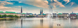Fototapety Binnenalster (Inner Alster Lake) panorama in Hamburg, Germany at sunset
