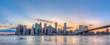 New York City Manhattan downtown skyline and Brooklyn bridge