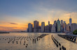 New York City downtown skyline in beautiful sunset
