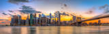Fototapeta Brooklyn bridge and downtown New York City in beautiful sunset