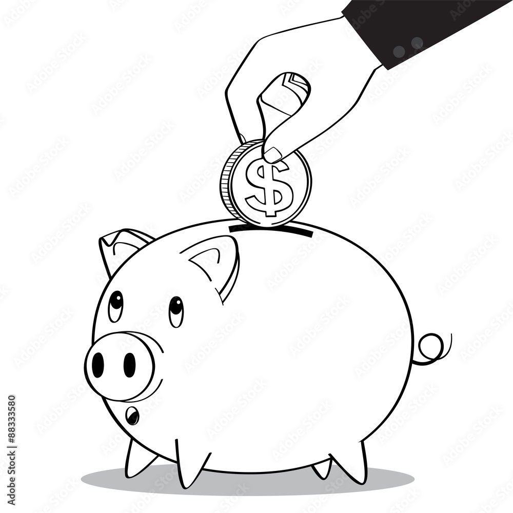 Line Drawing Piggy Bank : Hand putting coin into pig money box line drawing business