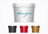 Fototapety Vector plastic bucket illustration. Ideal for your mock up. Elements are layered separately in vector file. Colors are just two global colors. Easy editable.