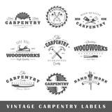 Fototapety Set of vintage labels carpentry