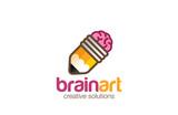 Brain Pencil Logo design. Creative ideas symbol logotype - 88344158