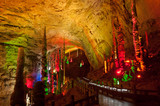 Colorful of Huanglong cave in China.