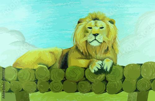 Fototapeta Lion sitting on pile of wood painting background