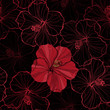 Seamless pattern with hibiscus flowers.