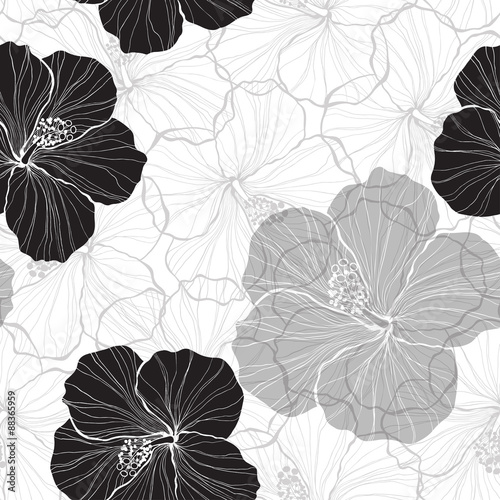 Fototapeta Black and white seamless pattern with hibiscus flowers.
