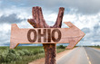 Ohio wooden sign with agriculture landscape on background