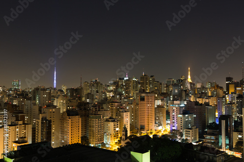 Sao Paulo at night. Communication tower buildings in the Paulista Avenue.