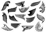 Vintage isolated heraldic wings set