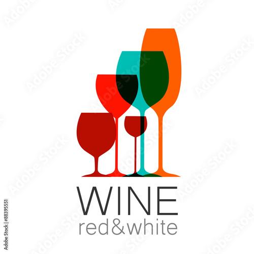 Fototapeta wine red white template logo