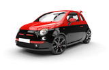 Front of a generic red and black city car