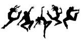 ダンサー5人横並べ(シルエット)