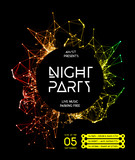 Fototapety Night Disco Party Poster Background
