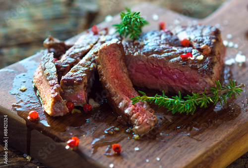 Poster Juicy Fillet Steak with Fresh Herbs