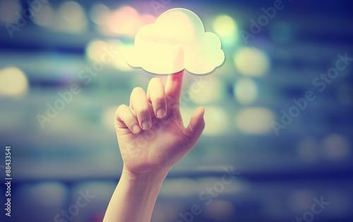 Foto Murales Hand pressing a cloud computing icon
