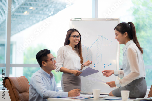 Discussing business chart