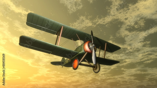 Fototapeta Biplane by sunset - 3D render