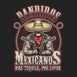 Постер, плакат: Vector illustrtion of mexican bandit print template