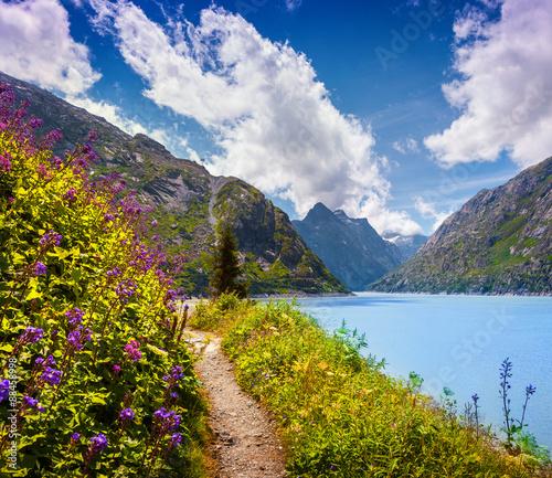 Keuken foto achterwand Nieuw Zeeland Colorful summer morning on the Grimselsee lake.