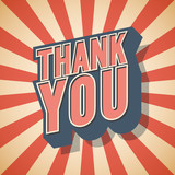 Fototapety Thank you Retro Speech Graffiti. Vector illustration