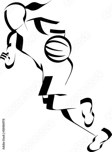 Woman Basketball Dribble Accent Poster
