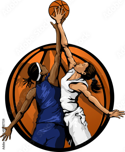 fototapeta na ścianę Women Basketball Jump Ball color