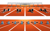 Fototapety two isolated running tracks with blocks and hurdles
