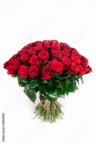 Zdjęcia na płótnie, fototapety, obrazy : Isolated large bouquet of 101 red rose isolated on white, vertic