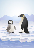 penguins on icy landscape. vector cartoon illustration