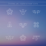 Drone, quadcopter, uav, copter linear icons, vector illustration, eps10, easy to edit poster