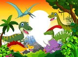 Fototapety Dinosaur cartoon with landscape mount backgroun for you design