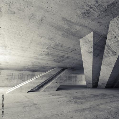 Abstract empty concrete room, 3d interior