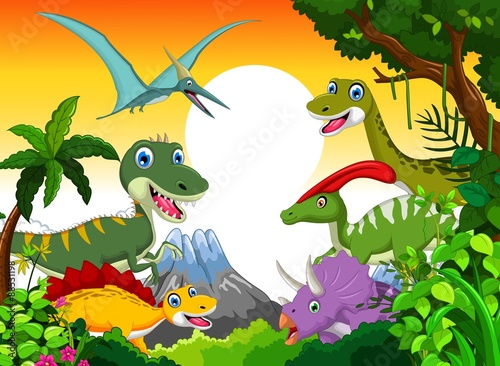 mata magnetyczna Dinosaur cartoon with landscape mount backgroun for you design