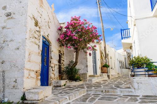 Street in the old town of Parikia, Paros island, Cyclades, Greece.
