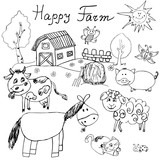 Happy farm doodles icons set. Hand drawn sketch with horse, cow, sheep pig and barn. childlike cartoony sketchy vector illustration isolated poster