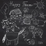 Happy farm doodles icons set. Hand drawn sketch with horse, cow, sheep pig and barn. childlike cartoony sketchy vector illustration on chalkboard background poster