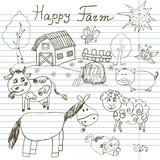 Happy farm doodles icons set. Hand drawn sketch with horse, cow, sheep pig and barn. childlike cartoony sketchy vector illustration on notebook paper background poster