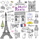 Paris doodles elements. Hand drawn set with eiffel tower bred cafe, taxi triumf arch, Notre Dame cathedral, facion elements, cat and french bulldog. Drawing doodle collection, isolated on white