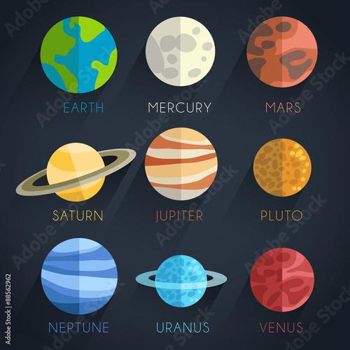 Astronomical Flat Icon Set : Vector Illustration
