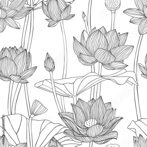Liniowy bezszwowy wzór - lotosowy kwiat.