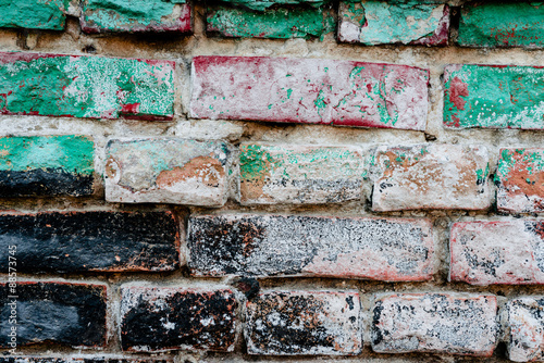 Foto op Plexiglas Wand Texture. Brick. Wall. A background with attritions and cracks