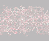 Lace seamless horizontal ribbon. White with pink flowers on a gray background.
