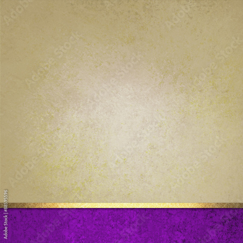vintage textured brown beige background with bright purple footer and gold ribbon stripe