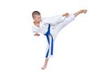 An athlete with a blue belt beats kick Yoko geri