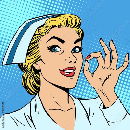 Fotobehang Pop Art Nurse okay gesture