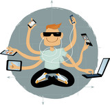 Cool geeky guy with six arms using assorted wireless gadgets, vector illustration, no transparencies, EPS 8